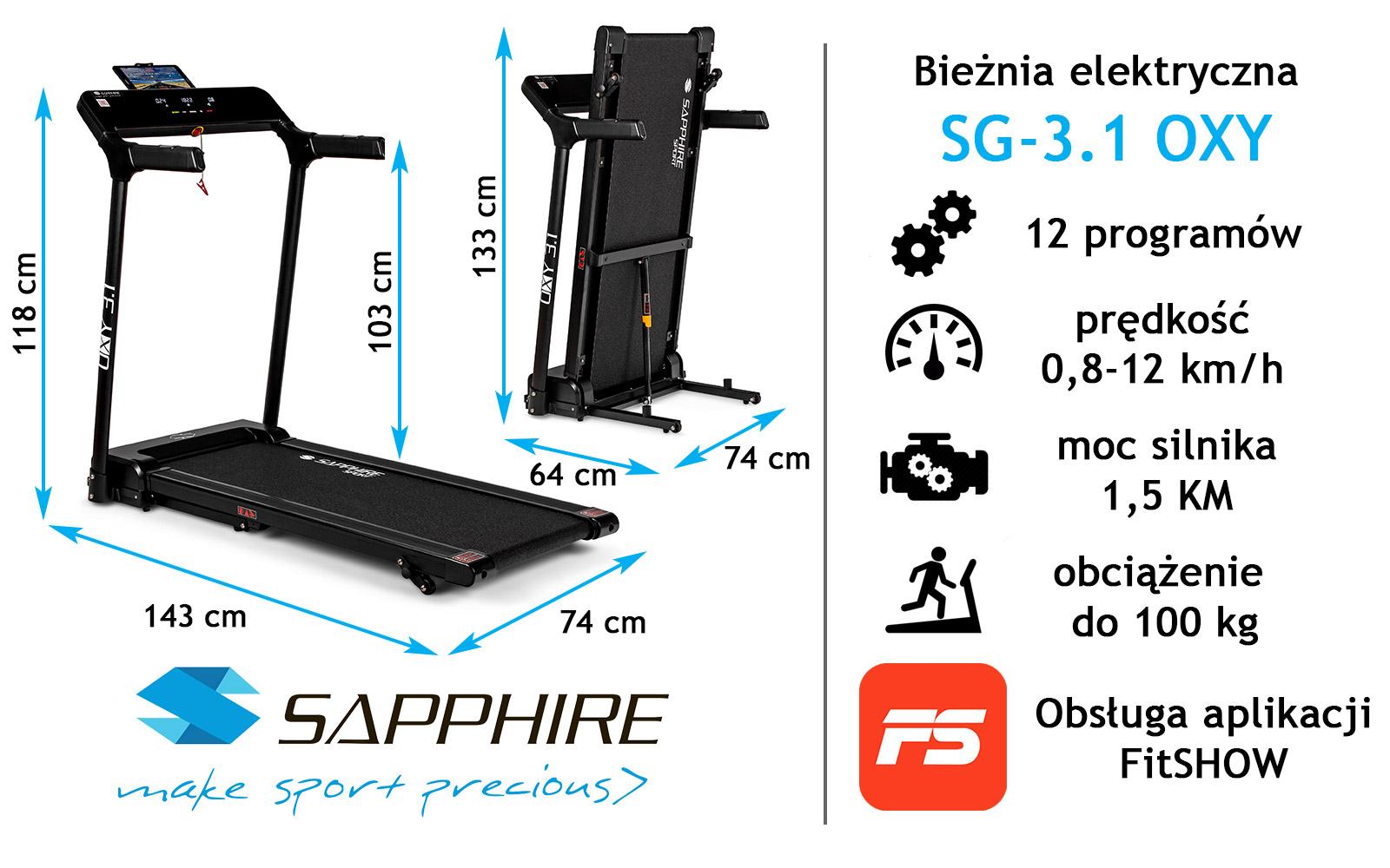 Bieżnia treningowa Sapphire OXY 3.1