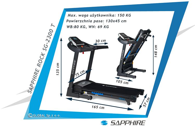 Bieżnia treningowa Sapphire ROCK SG-2300T