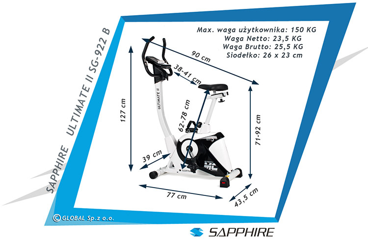 Rower elektromagnetyczny SG-922B Sapphire ULTIMATE II