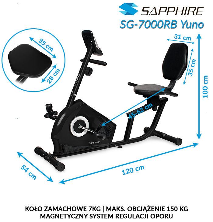 Rower poziomy Sapphire SG-7000RB YUNO