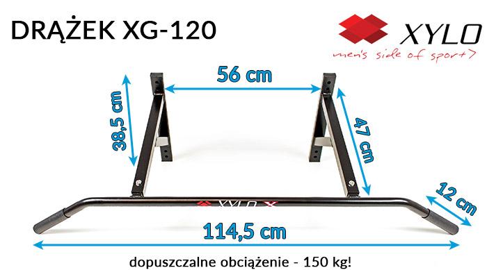 Drążek do podciągania XYLO XG-120 ze śrubami