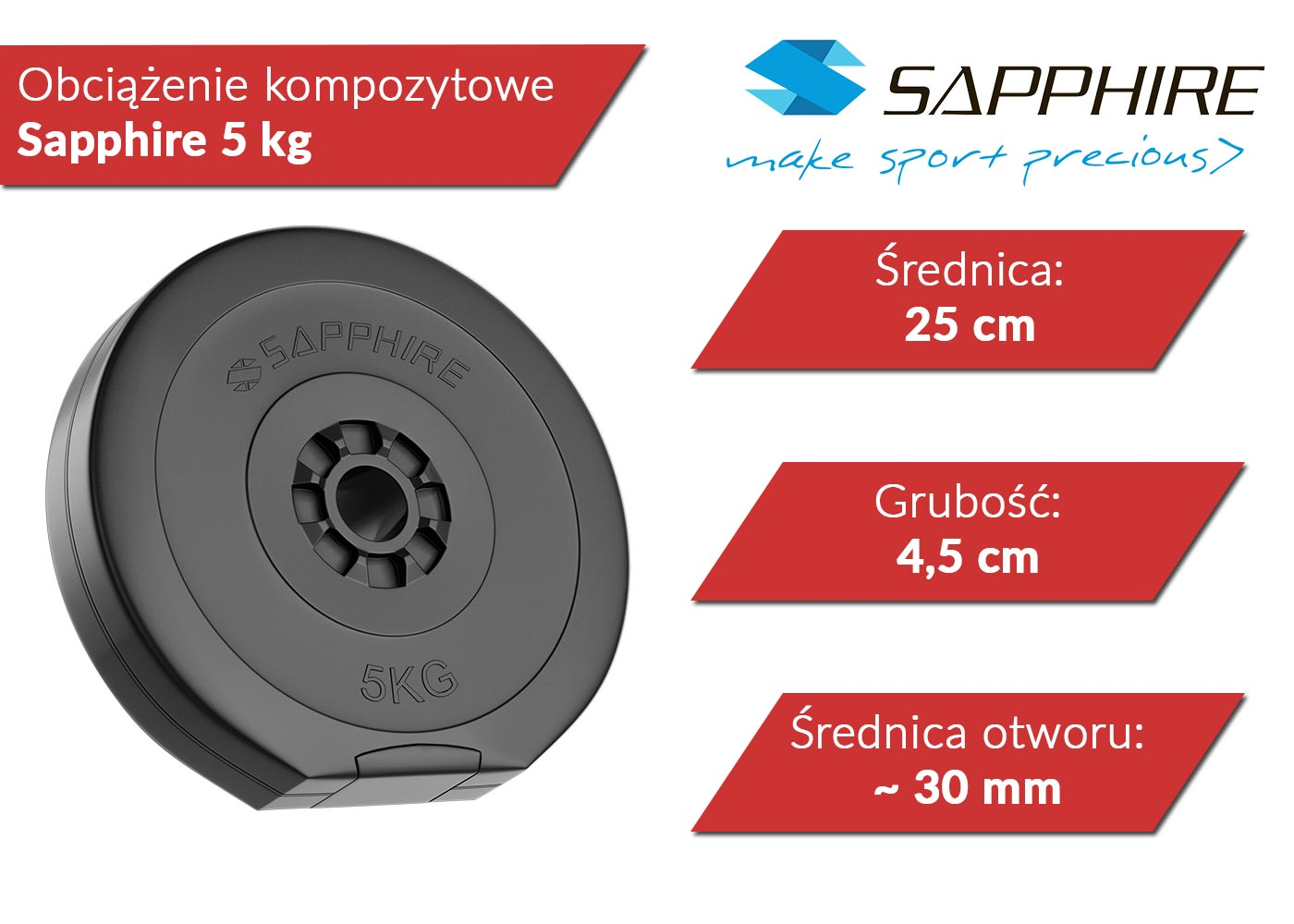 Obciążenia kompozytowe 5 kg Sapphire