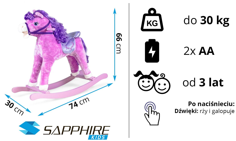 Koń na biegunach Sapphire Kids SK-31 - fioletowy
