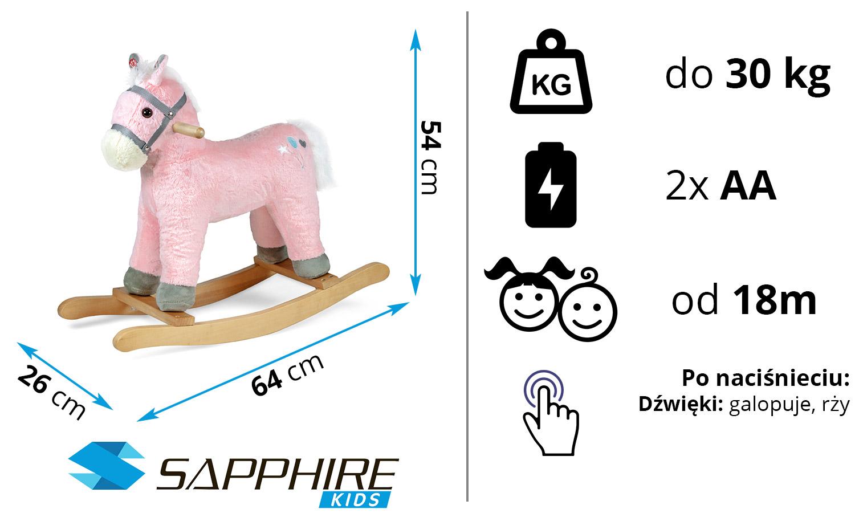 Konik bujany Sapphire Kids SK-30 - różowy