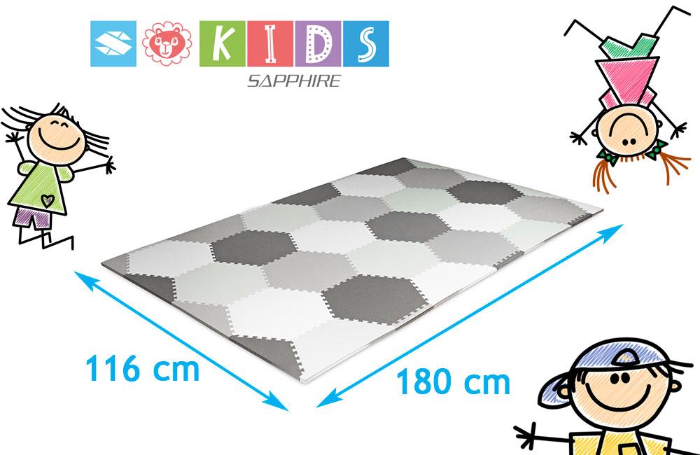 Podłogowa mata puzzle dla dzieci Sapphire Kids SK-27 - sześciokąty