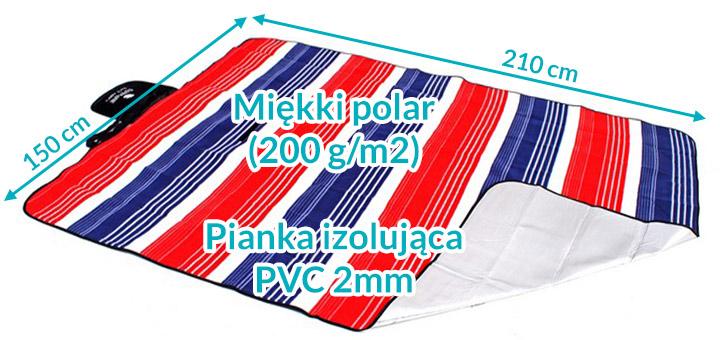Koc piknikowy / plażowy Spphire 210 x 150 cm z folią termiczną - marine
