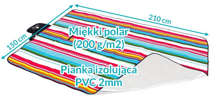 Koc piknikowy / plażowy Spphire 210 x 150 cm z folią termiczną - paski