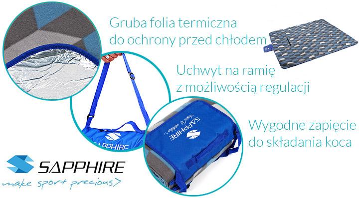 Koc piknikowy / plażowy Sapphire 200 x 200 cm z folią aluminiową - krata
