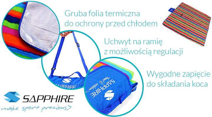 Koc piknikowy / plażowy Sapphire 200 x 200 cm z folią aluminiową - pasy