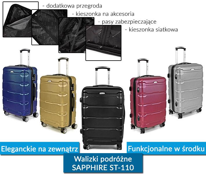Zestaw walizek podróżnych 3w1 Sapphire ST-110