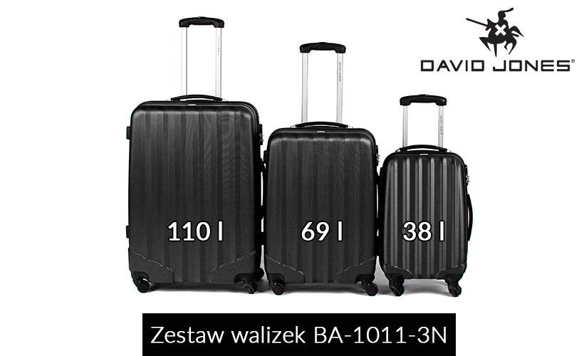 Zestaw walizek podróżnych 3w1 David Jones - czarne