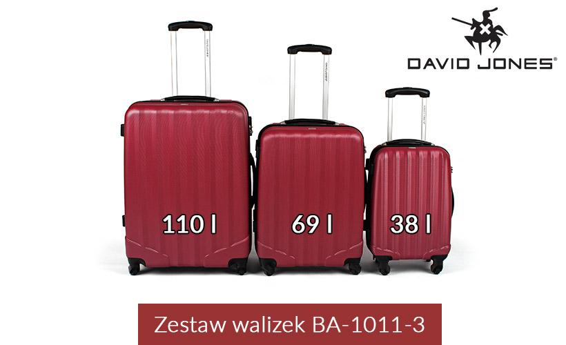 Zestaw walizek podróżnych 3w1 David Jones - czerwone