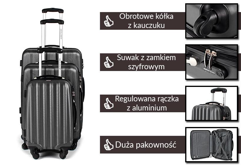 Zestaw walizek podróżnych 3w1 David Jones - grafitowe