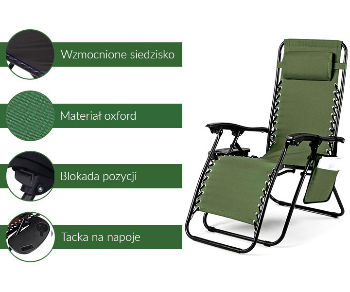 Leżak ogrodowy ACTIVE - zielony