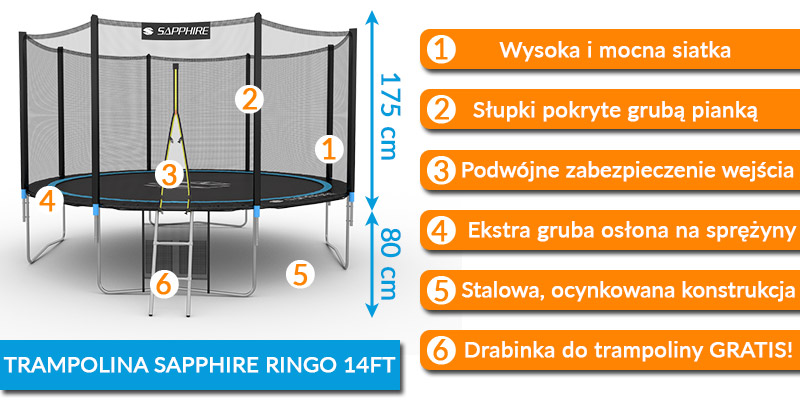 Trampolina Sapphire 14 FT 435 cm + drabinka