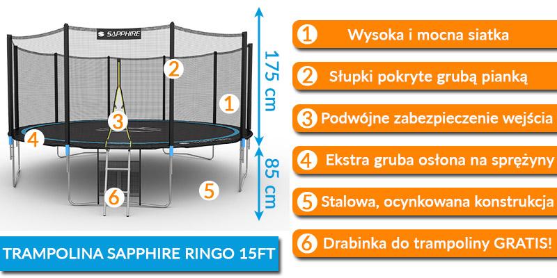 Trampolina Sapphire 15 FT 465 cm + drabinka