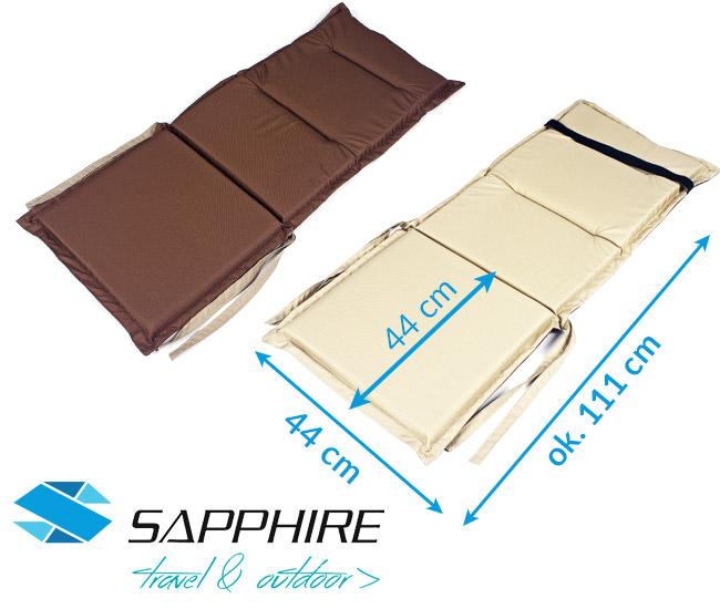 Dwukolorowa poduszka na leżak / krzesło Sapphire - brązowo-beżowa - duża